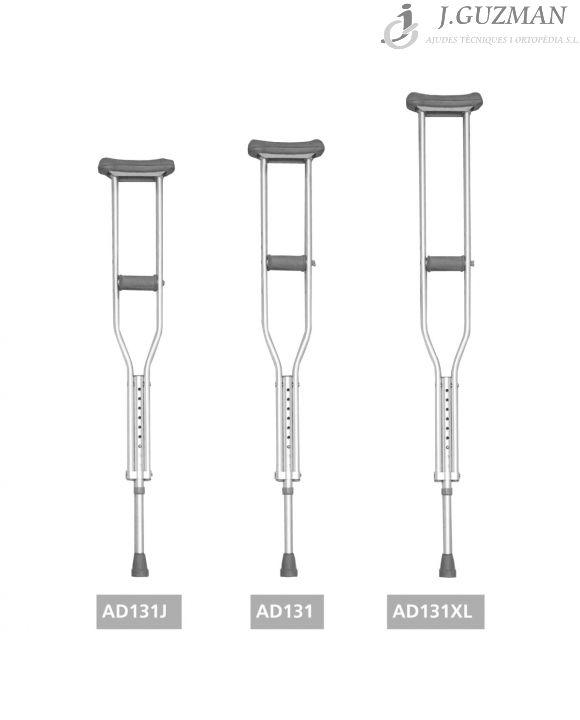 Muletas axilares disponibles en 3 tamaños