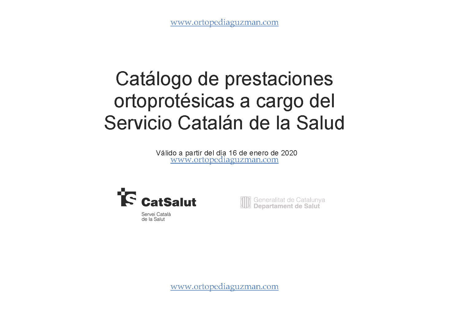 NUEVO CATÁLOGO ORTOPROTÉSICO CATSALUT 2020