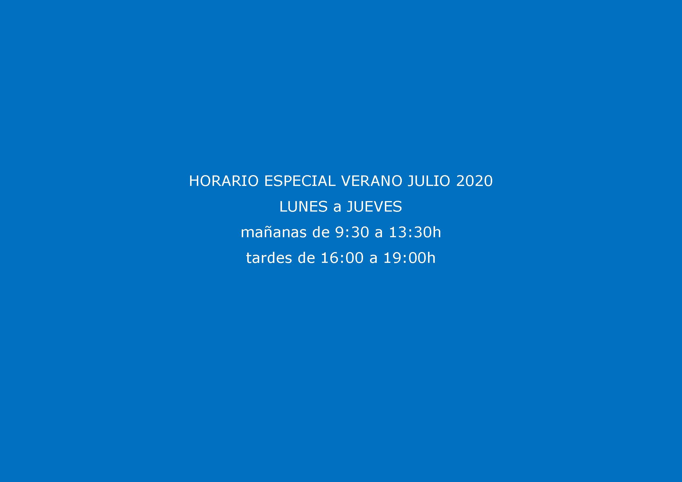 HORARIO ESPECIAL VERANO 2020